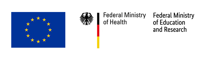 Logos of the European Commission and the German Federal Ministry of Education and Research and the German Federal Ministry of Health